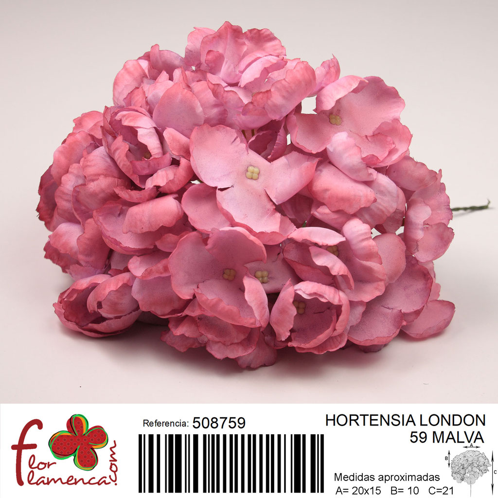 Hortensia Flor Flamenca modelo London color malva 59