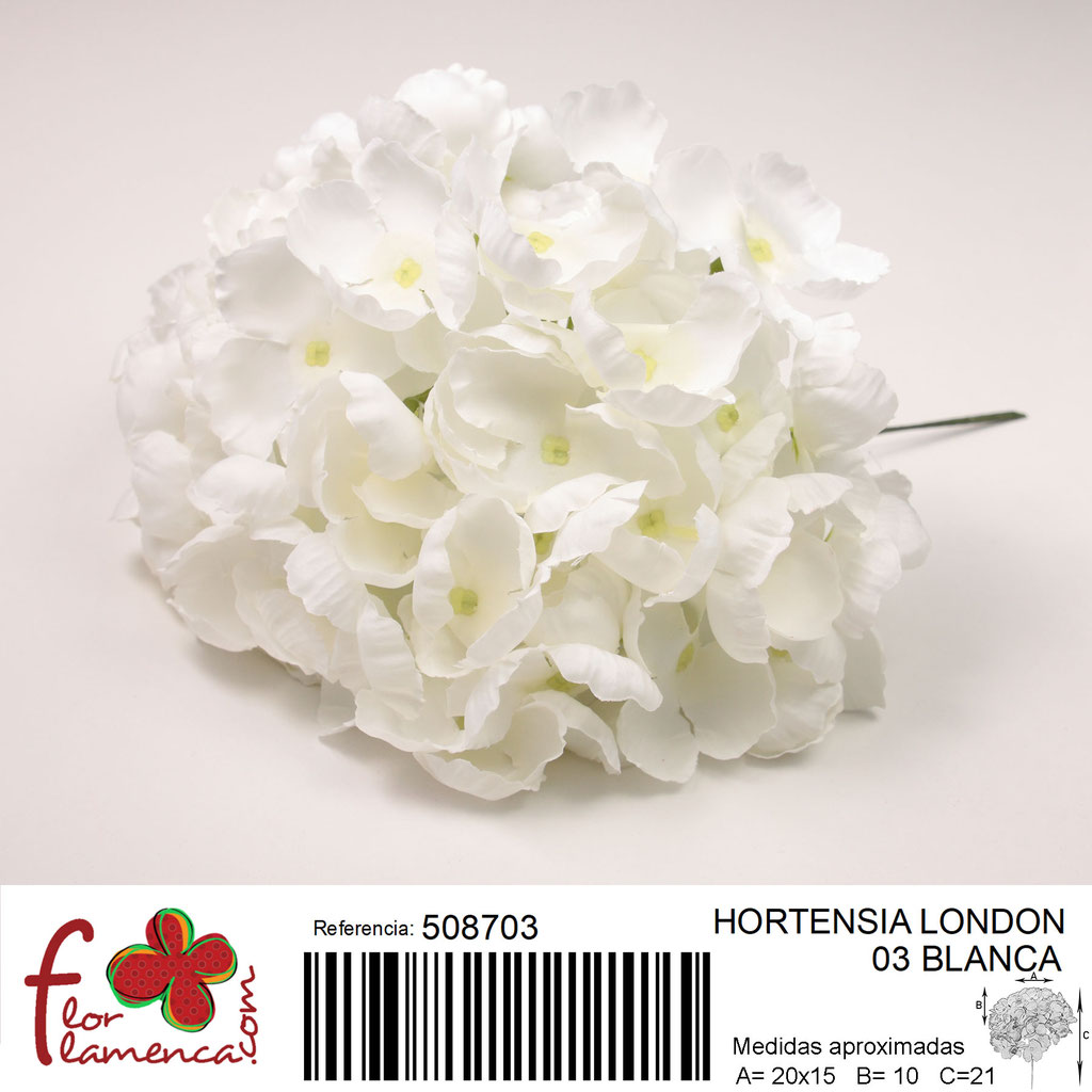 Hortensia Flor Flamenca modelo London color blanco 03