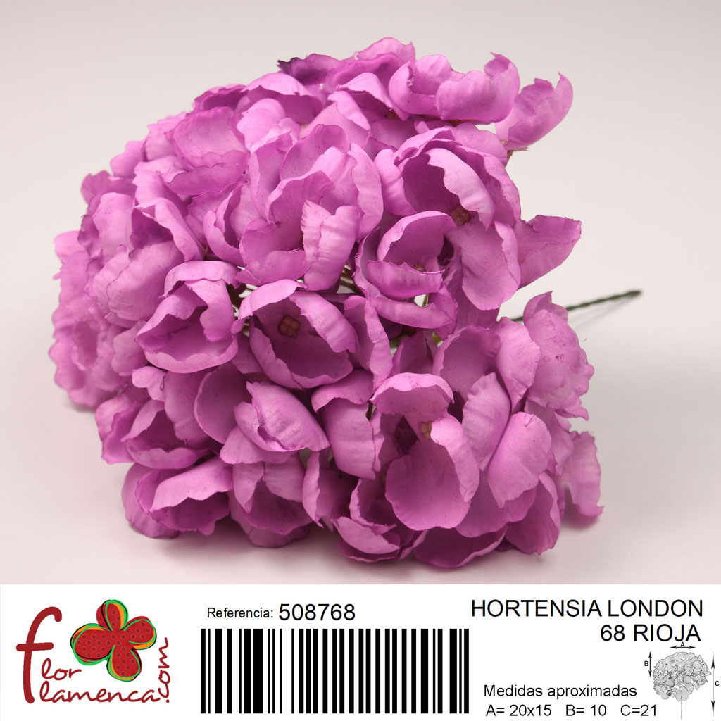 Hortensia Flor Flamenca modelo London color rioja 68