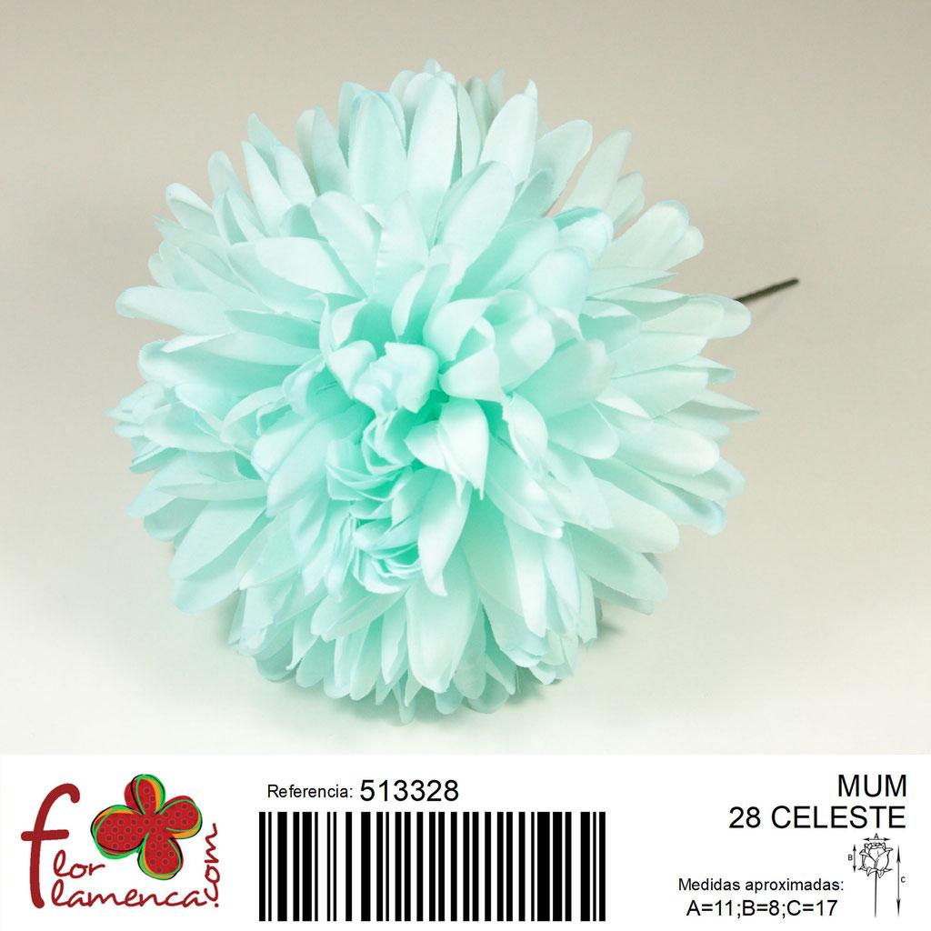 Crisantemo Flor Flamenca modelo Mum color celeste 28