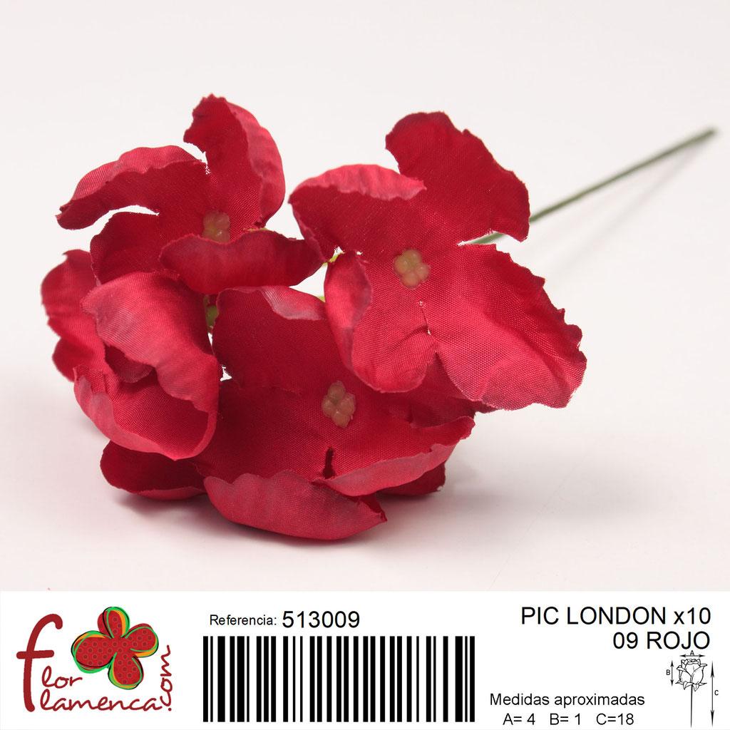 Pic Hortensia Flor Flamenca modelo LONDON color rojo 09