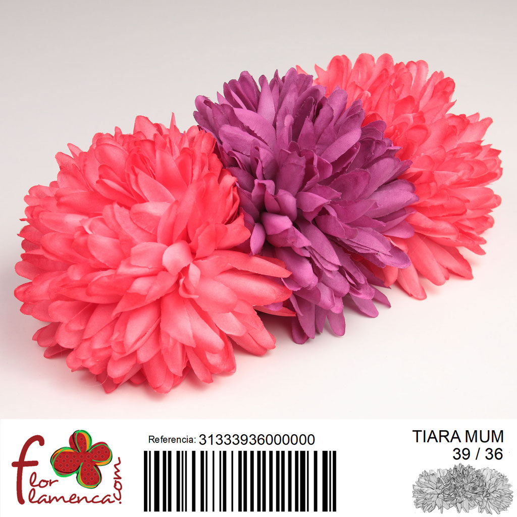 Tiara Flor Flamenca compuesto de tres crisantemos MUM