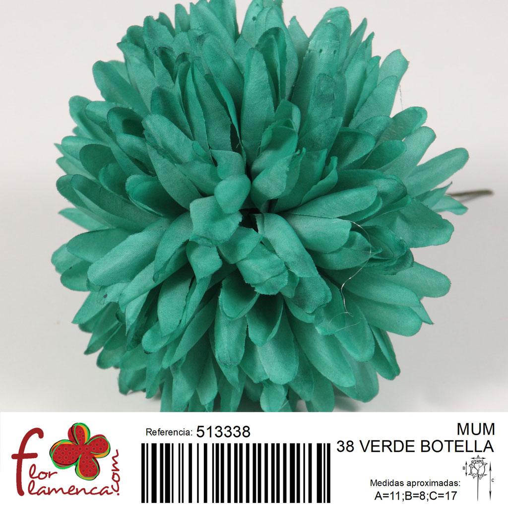 Crisantemo Flor Flamenca modelo Mum color verde botella 38