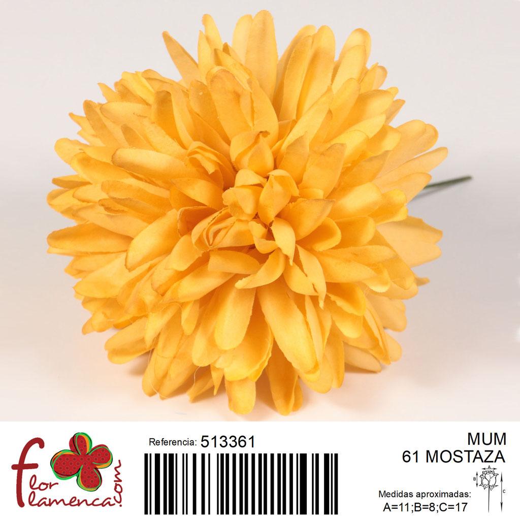 Crisantemo Flor Flamenca modelo Mum color mostaza 61