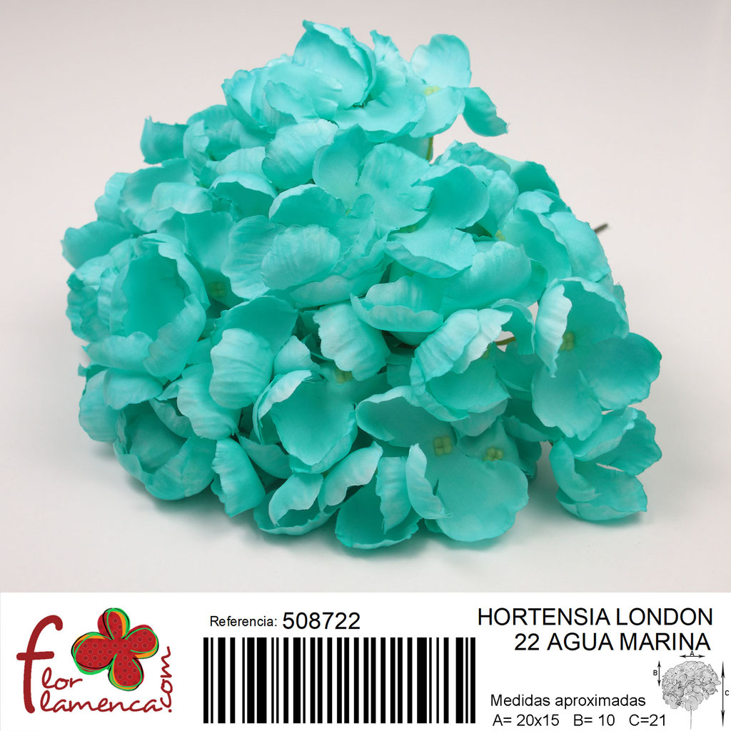 Hortensia Flor Flamenca modelo London color agua marina 22