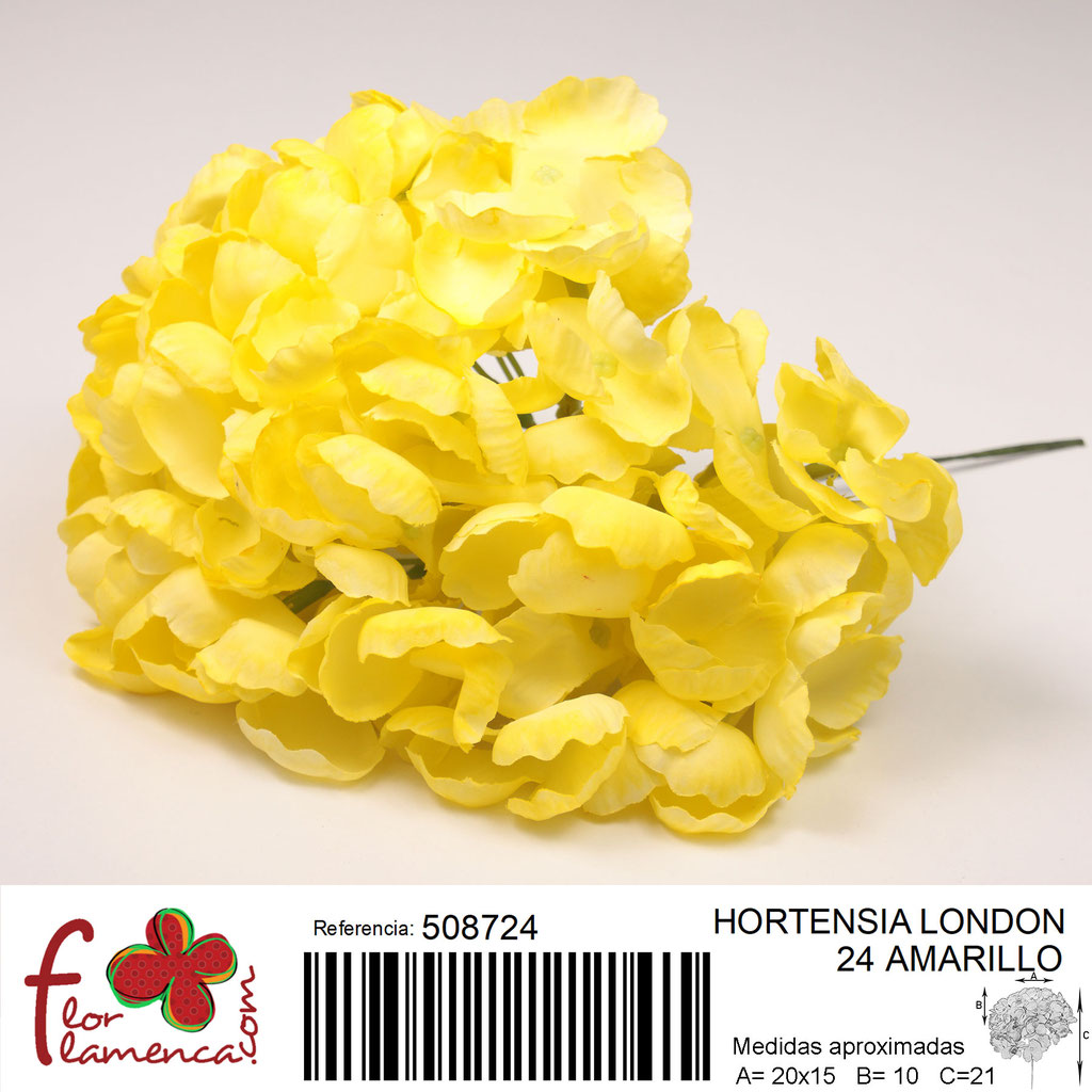Hortensia Flor Flamenca modelo London color amarillo 24
