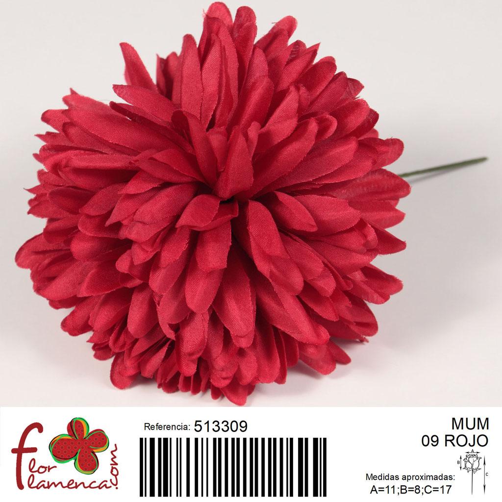 Crisantemo Flor Flamenca modelo Mum color rojo 09
