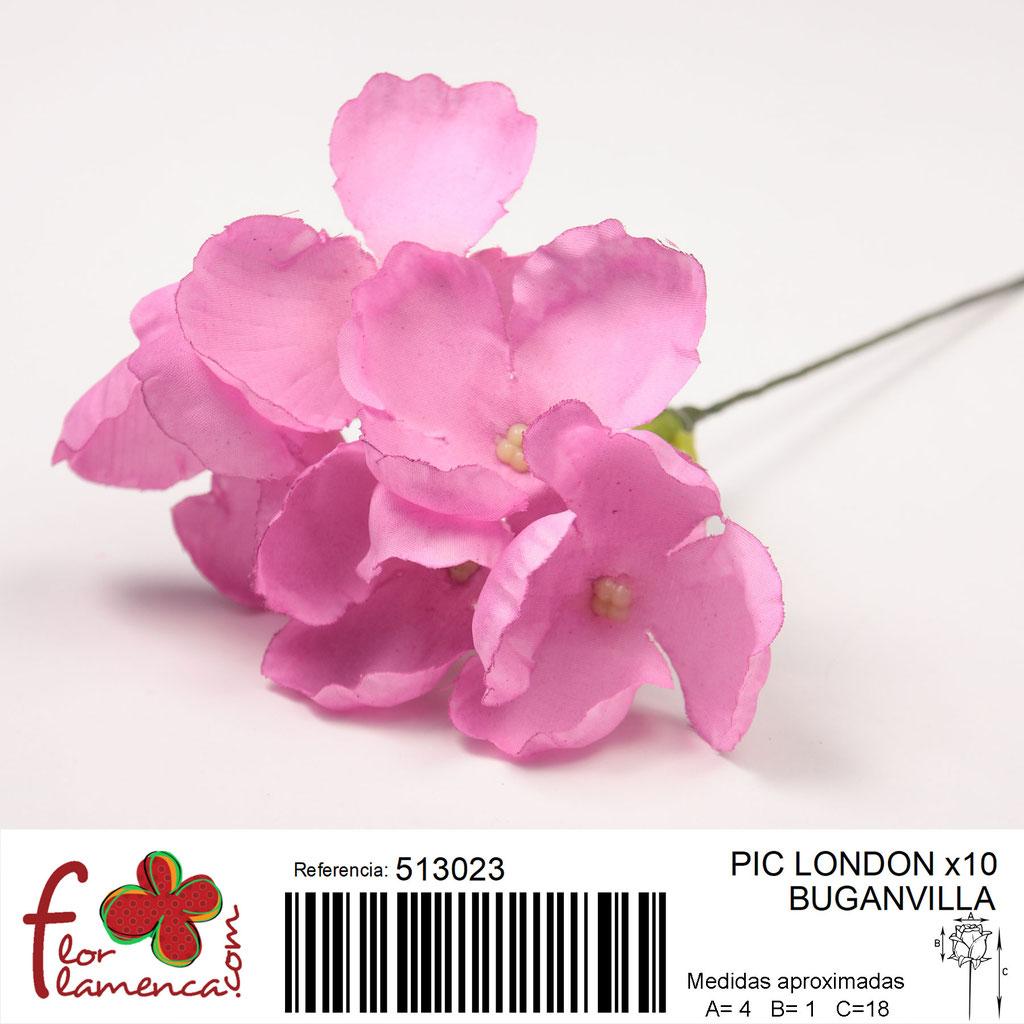 Pic Hortensia Flor Flamenca modelo LONDON color buganvilla 23