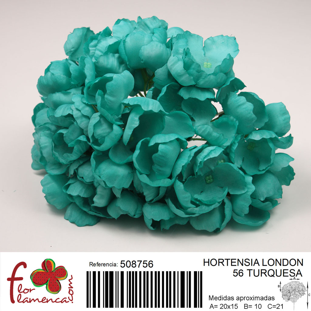 Hortensia Flor Flamenca modelo London color turquesa 56