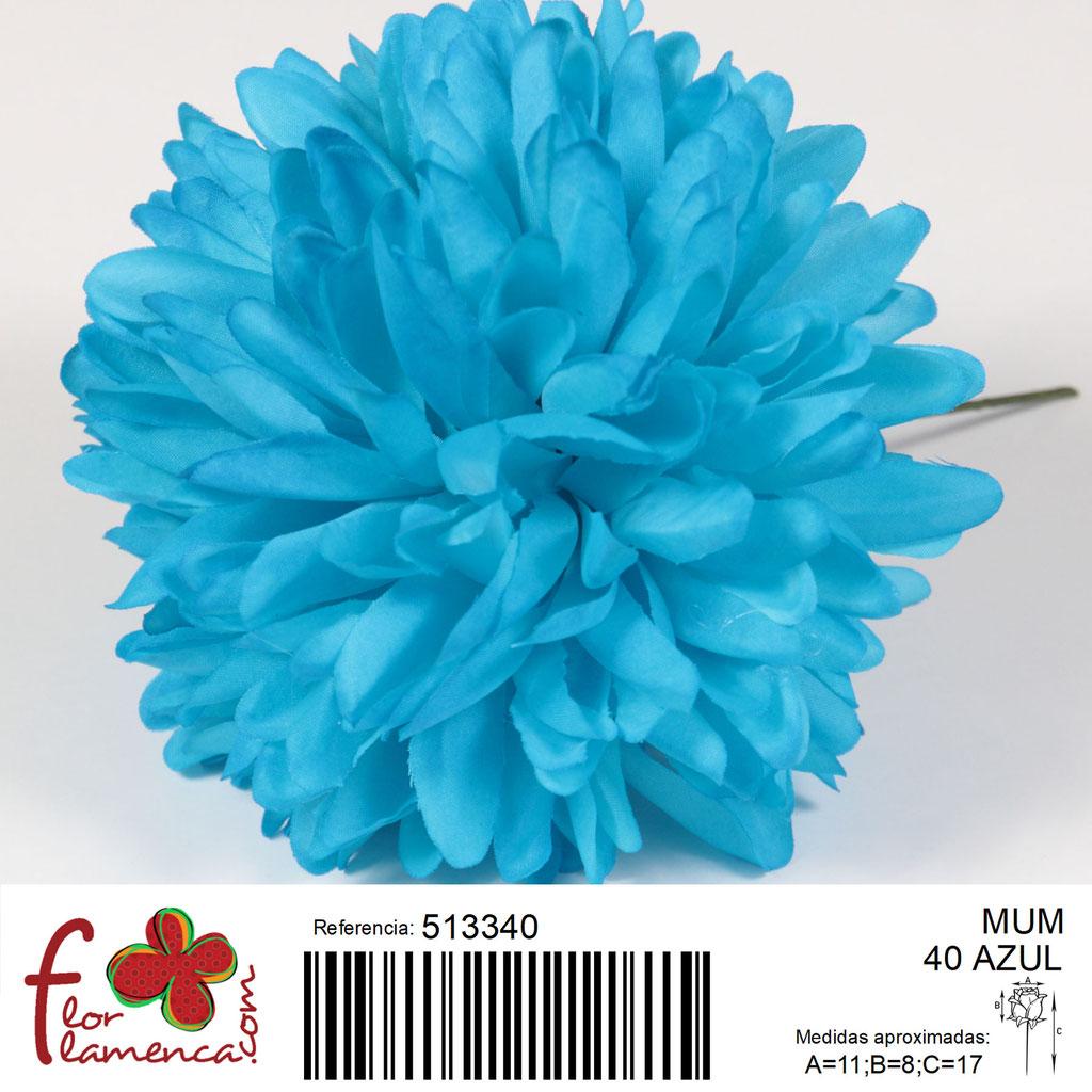 Crisantemo Flor Flamenca modelo Mum color azul 40