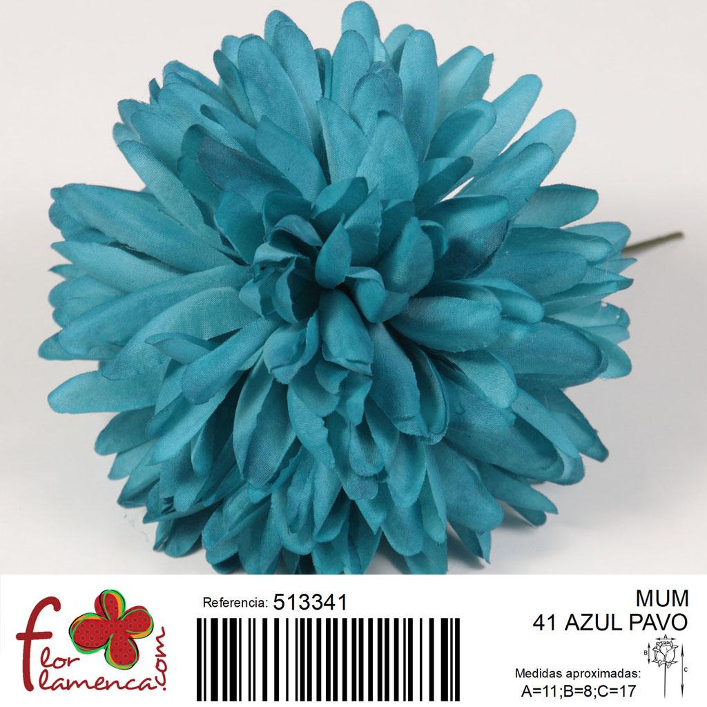 Crisantemo Flor Flamenca modelo Mum color azul pavo 41