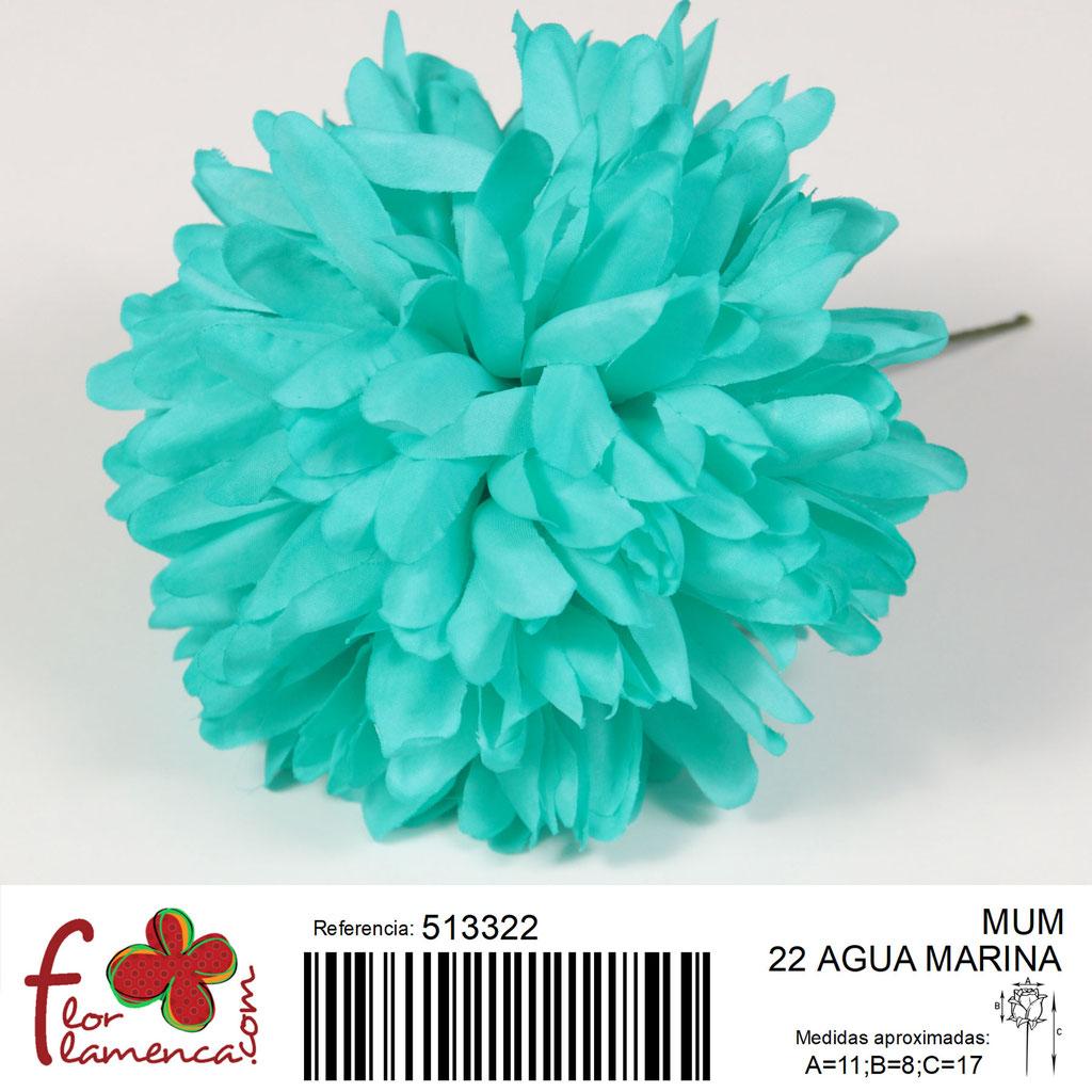 Crisantemo Flor Flamenca modelo Mum color agua marina 22