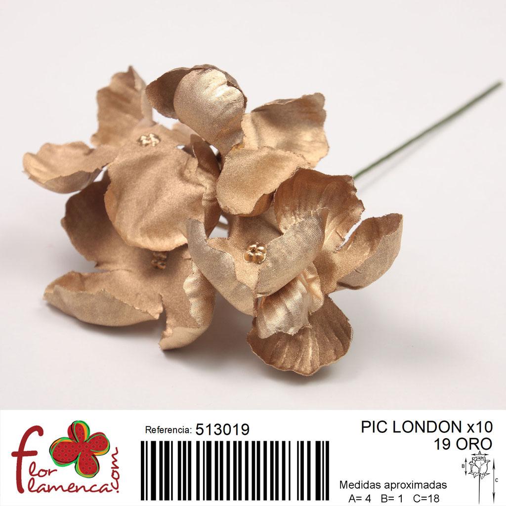 Pic Hortensia Flor Flamenca modelo LONDON color oro 19