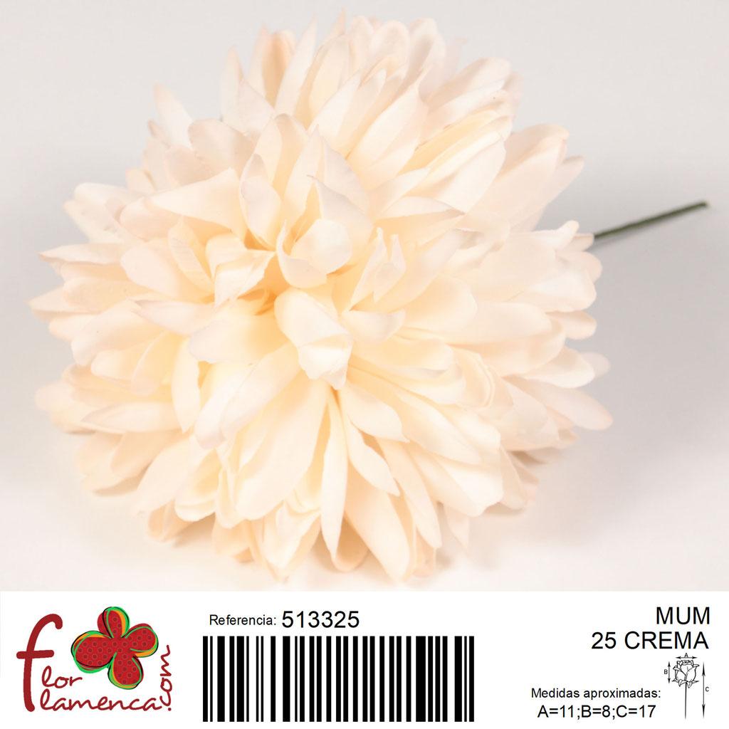 Crisantemo Flor Flamenca modelo Mum color crema 25