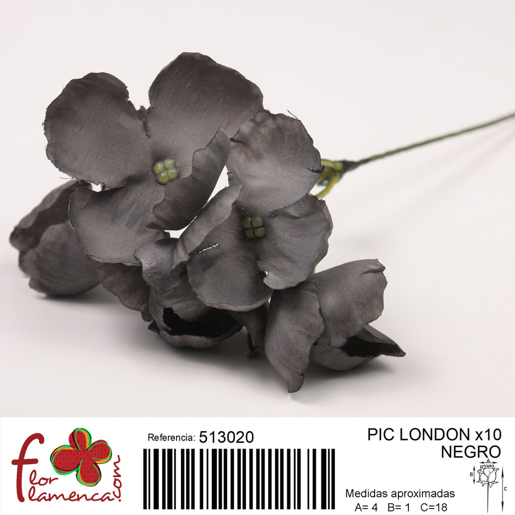 Pic Hortensia Flor Flamenca modelo LONDON color negro 20