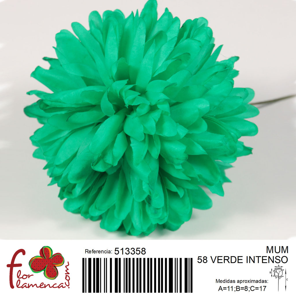 Crisantemo Flor Flamenca modelo Mum color verde intenso 58
