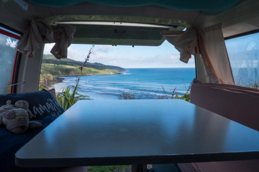 Das ist doch mal eine Frühstücks Aussicht aus dem Van!