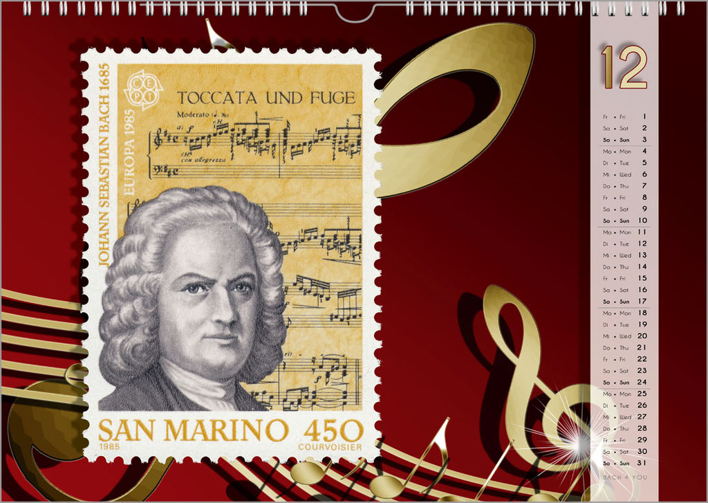 A Bach Postage Stamps Calendar ... Bach Calendars Are Music Calendars and Music Gifts.