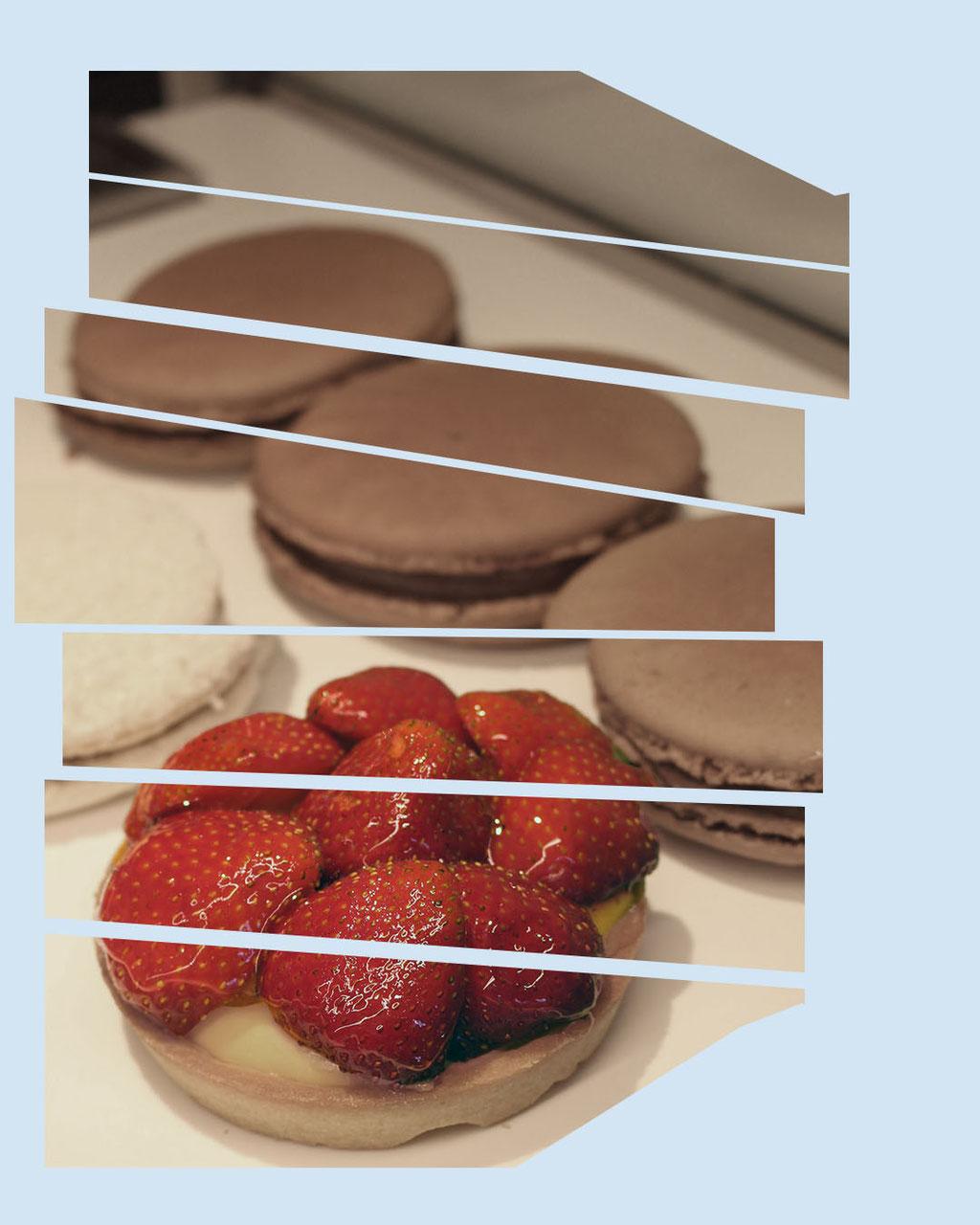 Sjokolademacaron og jordbærterte