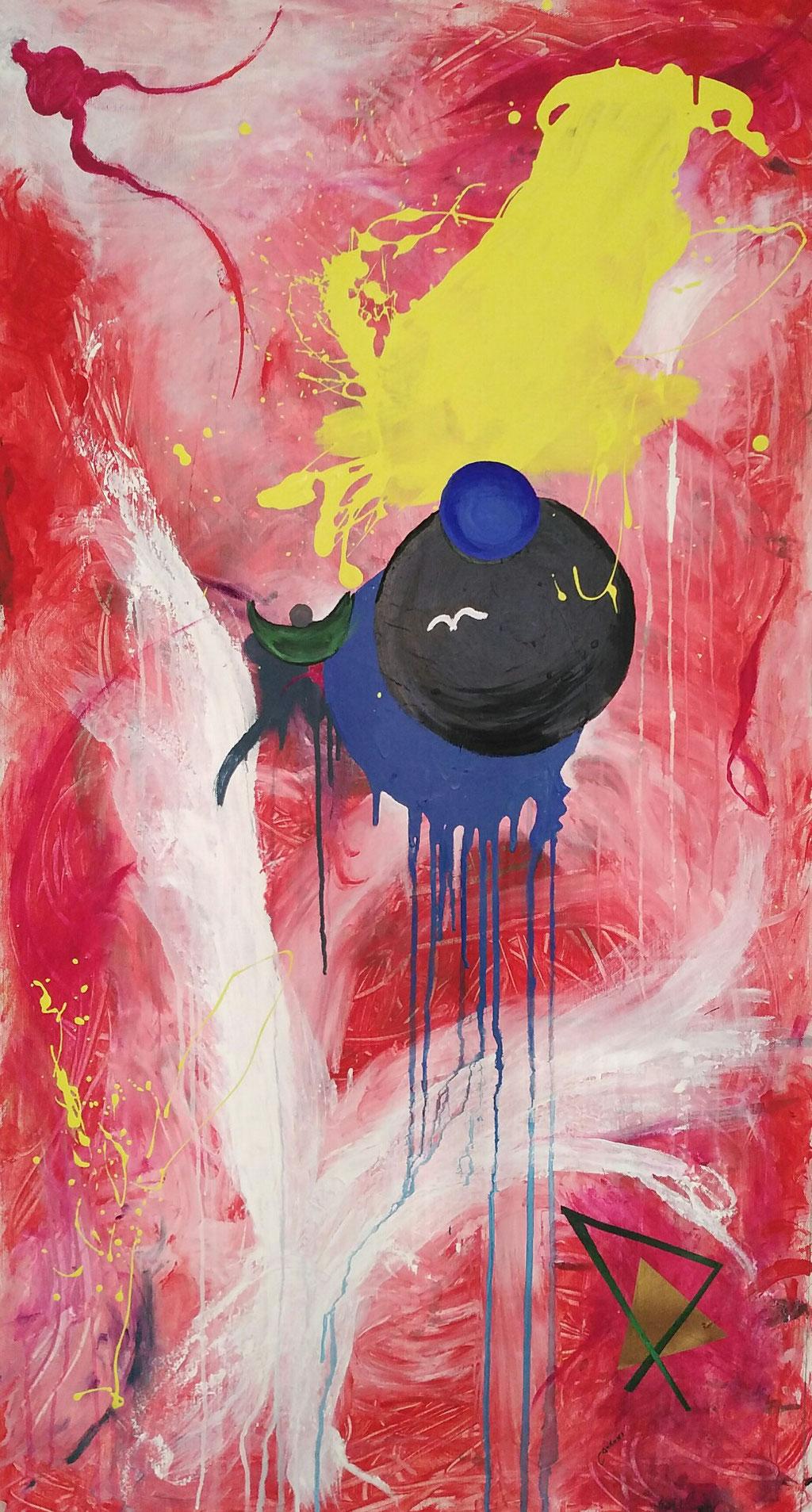 Gabbiano di notte / Seagull by night   Tec mista su tela  mixed media on canvas  123x68