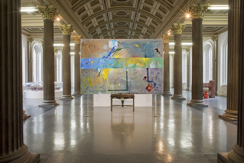 La musica delle sfere - tec. mista su tela 288x200   (2019)  opera di Francesco Cannone in ambiente virtuale