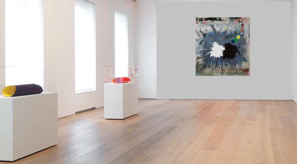 Dualita' - tecnica mista su tela 112x102  (2019)  opera di Francesco Cannone in ambiente virtuale