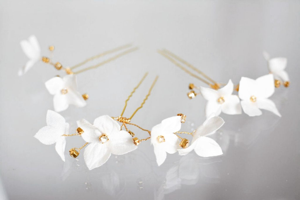 Hairpin-Set Beatrice gold/ivory
