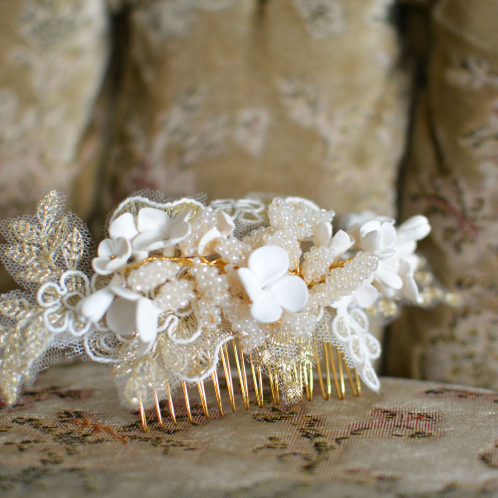 Headpiece Agnès gold/ivory