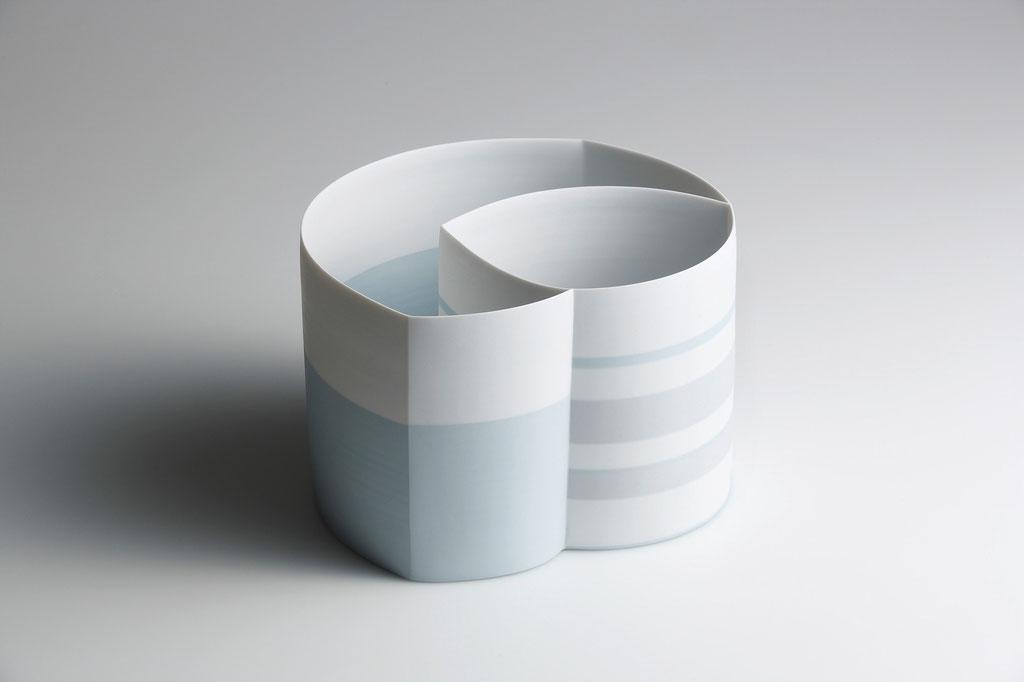 Karin Bablok | Porzellanunikat Zweikammergefäß farbig | Hcm x Bcm
