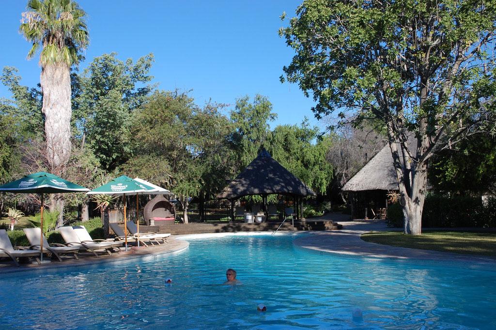 Ein grosser Pool mit Liegeflächen ect.