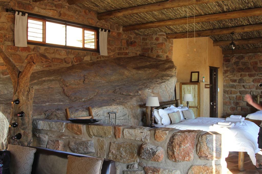 Schlafbereich mit Aussicht auf die Namib Wüste