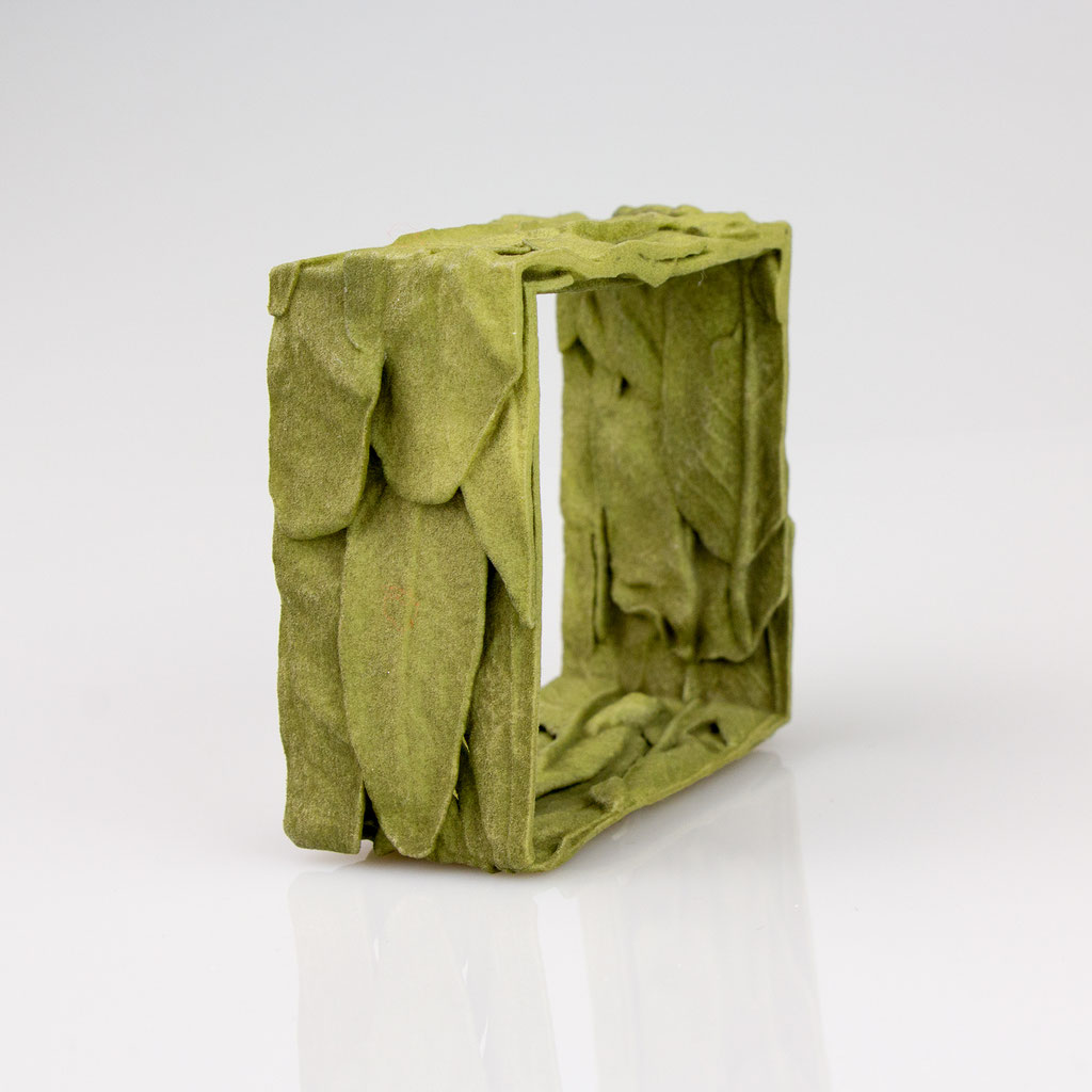 Drei Salbeiblätter digital zum Armreifen gebaut - Oberflächenscan - 3D-Druck Kunststoff