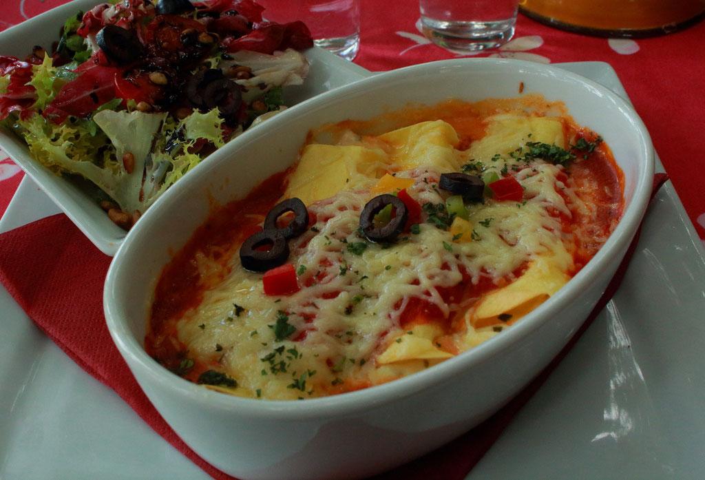 Lasagnes chevre frais et ciboulette.