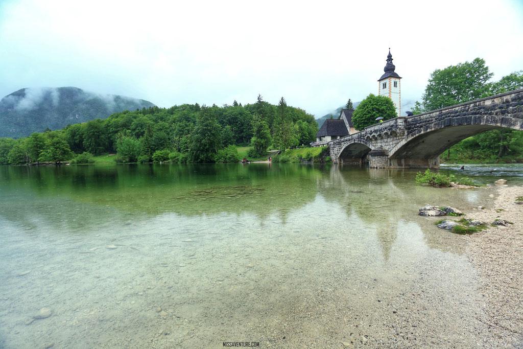 Le lac de Bohinj.