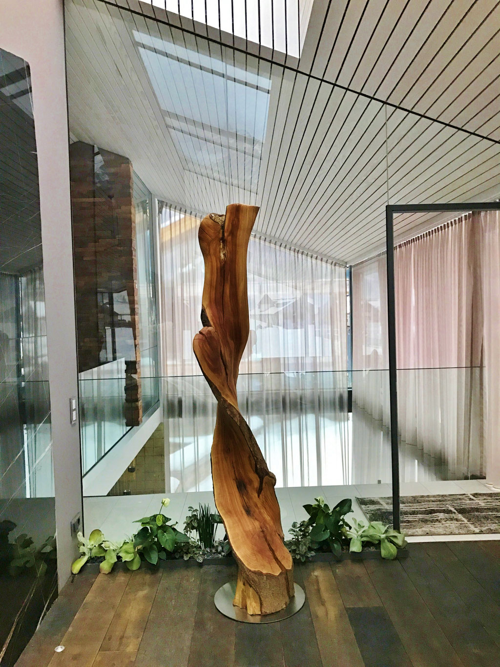 Objekt aus dem Stamm einer Mirabelle, ca. 210 cm hoch