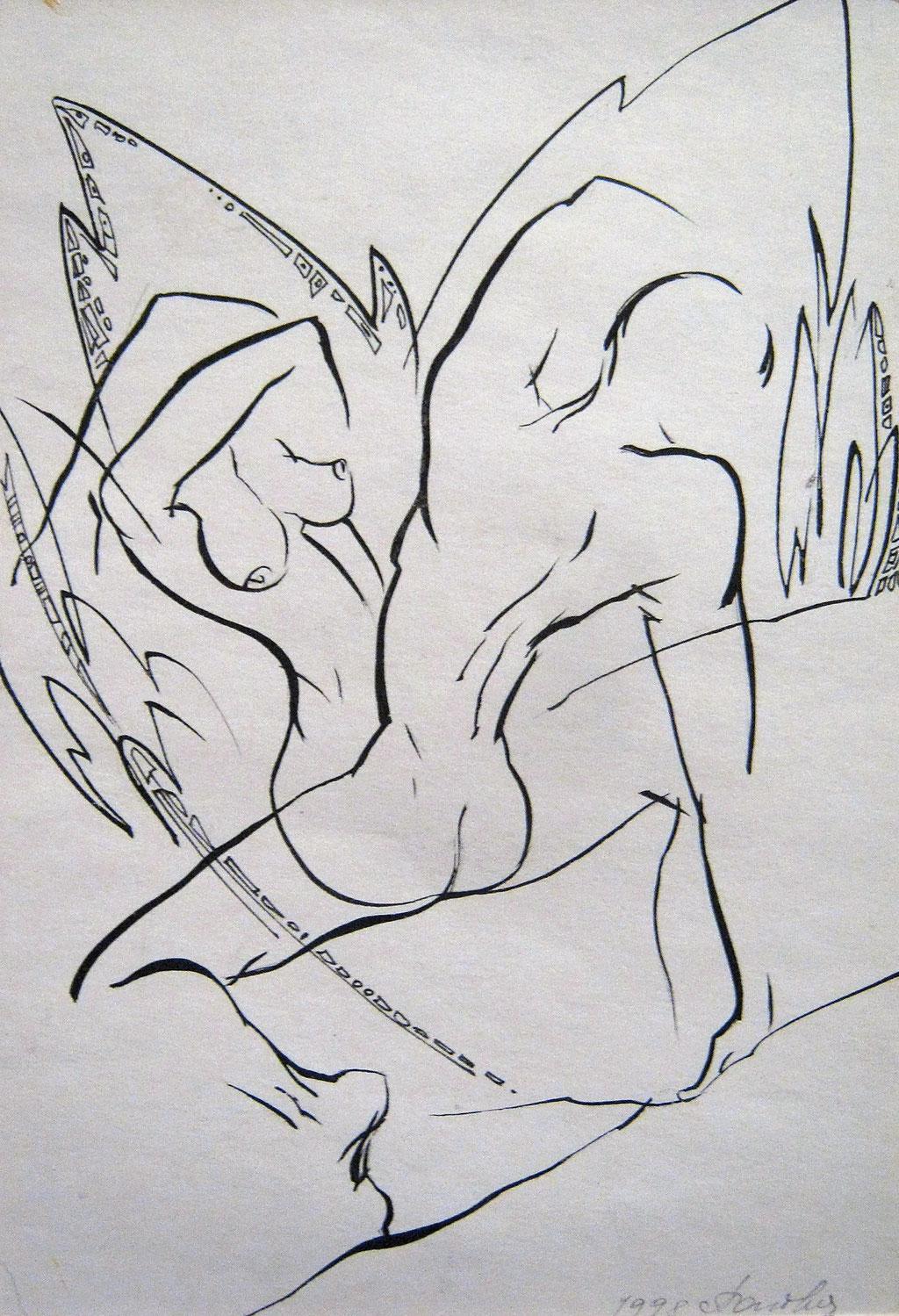 """Попова Ольга. Иллюстрация к лирике Николая Гладких """"Царевна, спящая в груди"""" 1998г"""