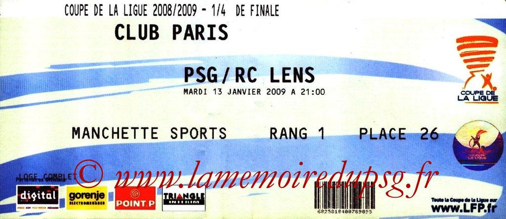 Tickets  PSG-Lens  2008-09