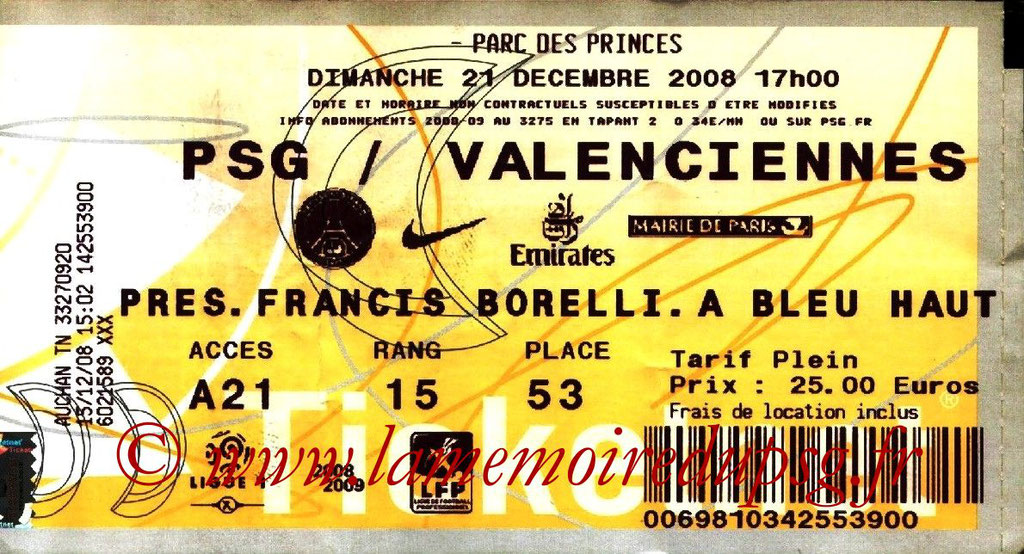 Tickets  PSG-Valenciennes  2008-09