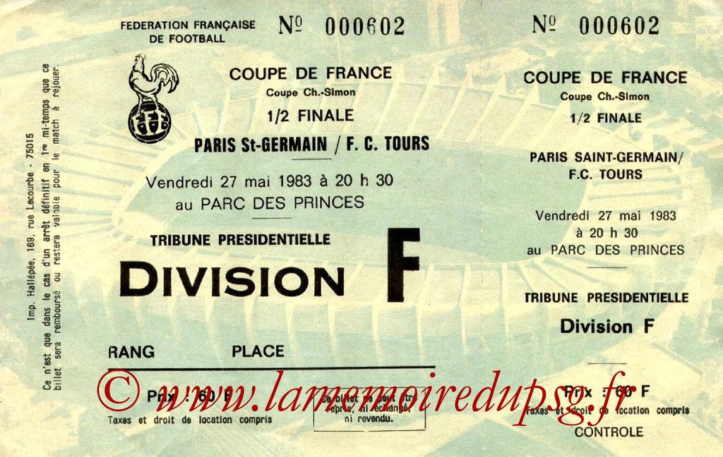 Ticket  PSG-Tours  1982-83
