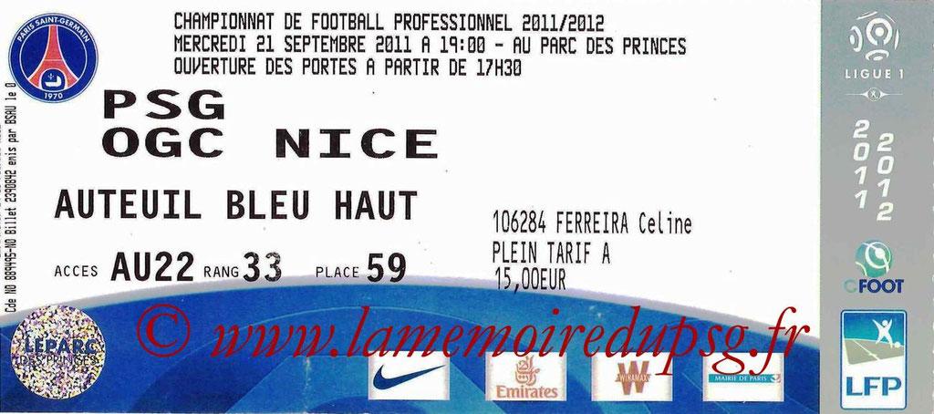 Tickets PSG-Nice  2011-12