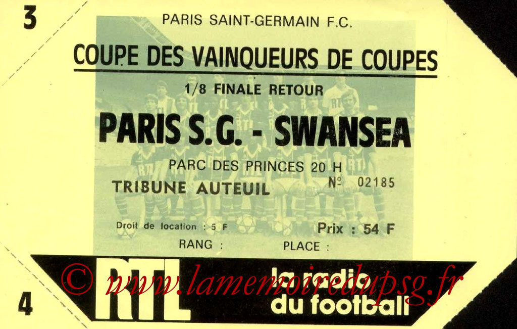 Ticket  PSG-Swansea  1982-83