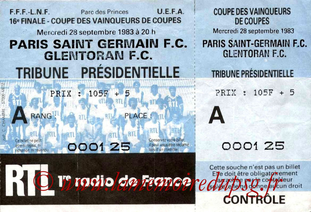 Ticket  PSG-Glentoran  1983-84