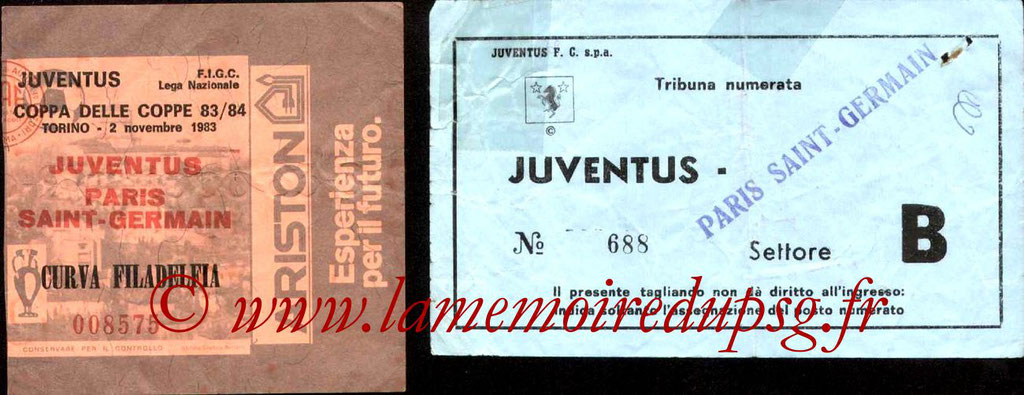 Ticket  Juventus Turin-PSG  1983-84