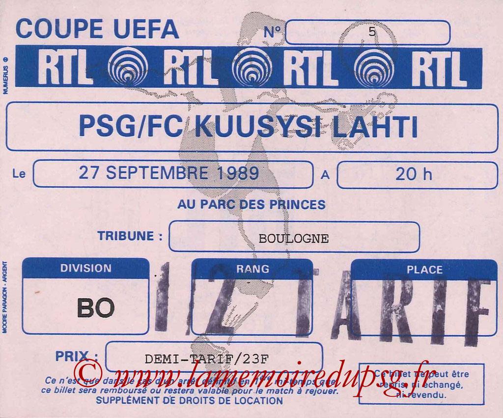 Ticket  PSG-Kuusysi Lahti  1989-90