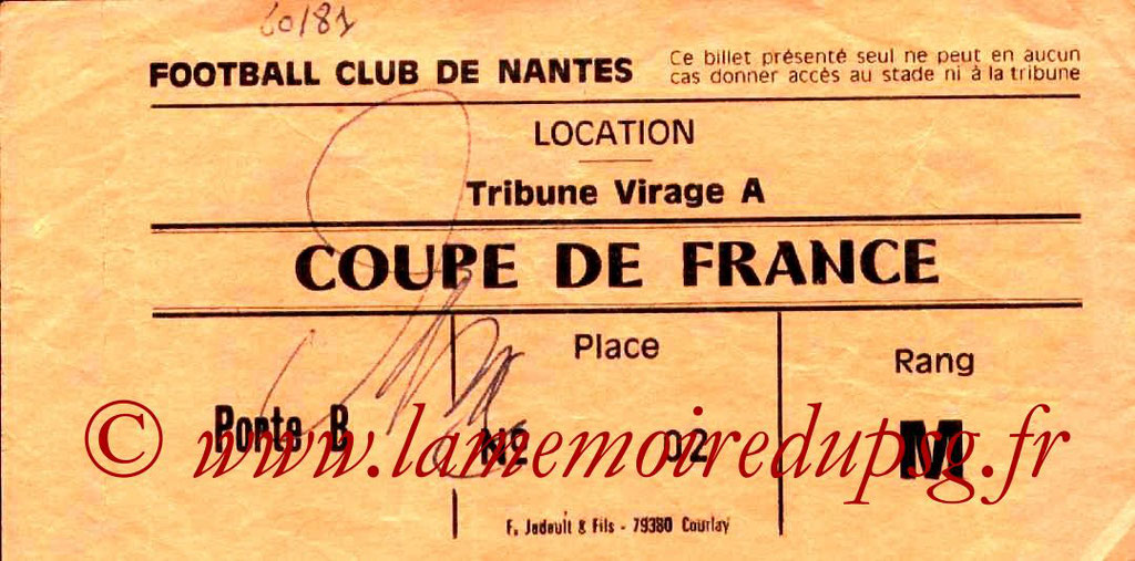Ticket  Nantes-PSG  1980-81