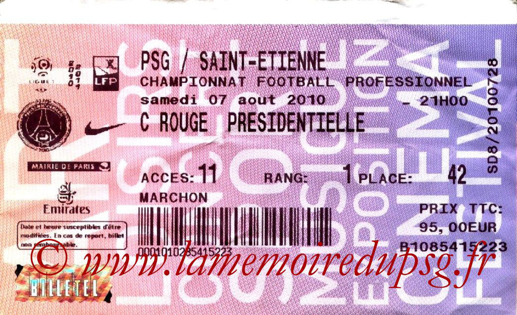 Tickets PSG-Saint Etienne  2008-09
