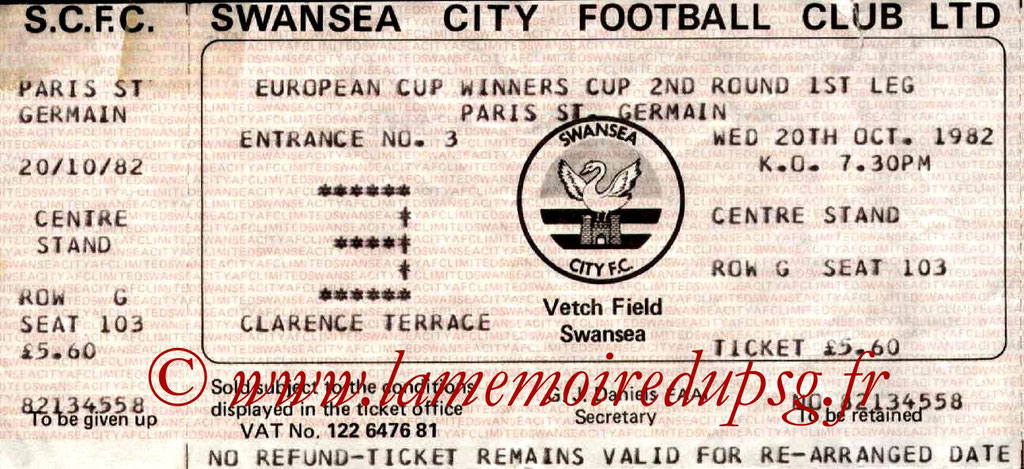 Ticket  Swansea-PSG  1982-83