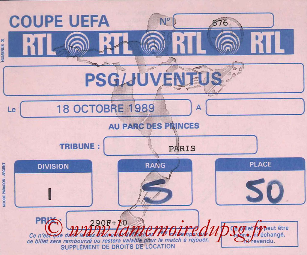 Ticket  PSG-Juventus Turin  1989-90
