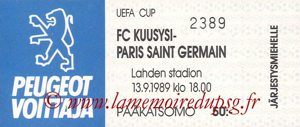 Ticket  Kuusysi Lahti-PSG  1989-90