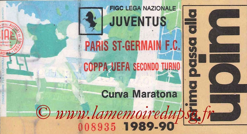 Ticket  Juventus Turin-PSG  1989-90